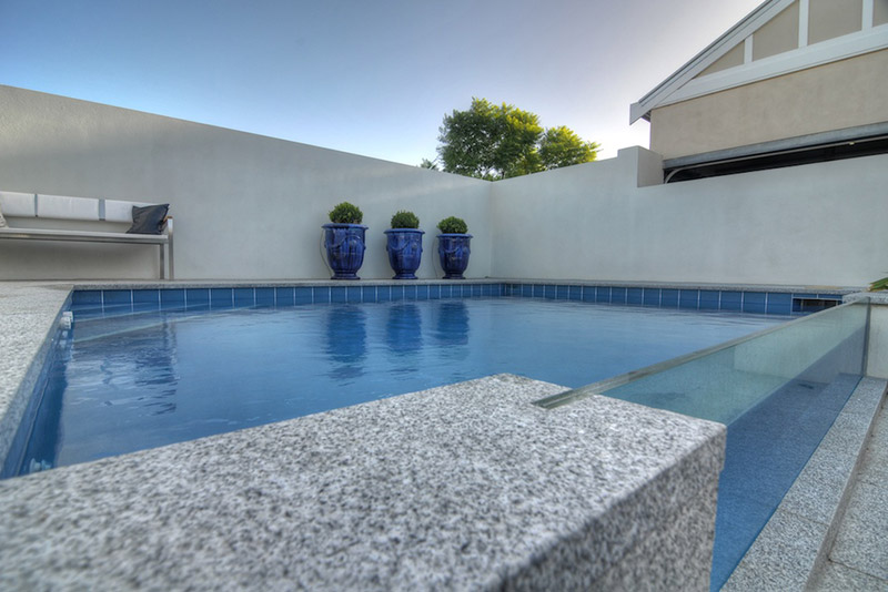 Subiaco Concrete Plunge Pool Viewing Panel Granite Coping