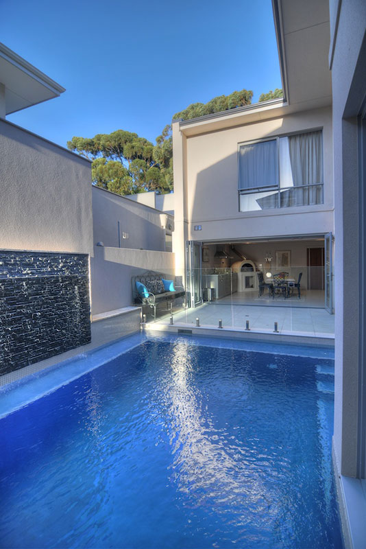 Swanbourne Concrete plunge pool with Water Feature Wall