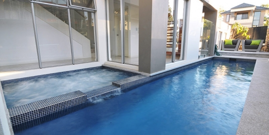 Woodlands Concrete Pool Spa Combo with Spillover Spa