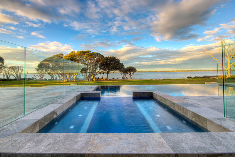 Dawesville Concrete Infinity Edge Pool with Spillover Spa