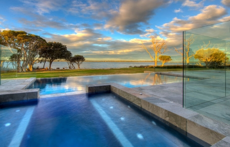 Dawesville Concrete Infinity Edge Pool - Spillover Spa with Spa Jets
