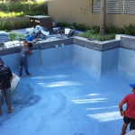 pool interiors being plastered