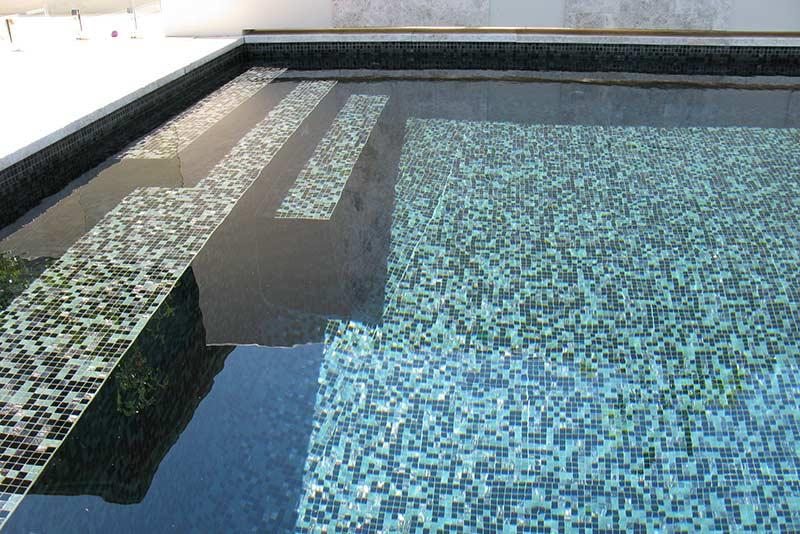 Minim Cove Geometric Pool Fully Tiled with Glass Mosaics