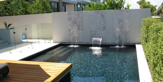 Minim Cove Geometric Pool Fully Tiled with three Waterblade Water Features