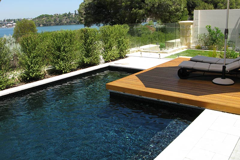 Minim Cove Concrete Geometric Pool Fully Tiled with Sun Deck