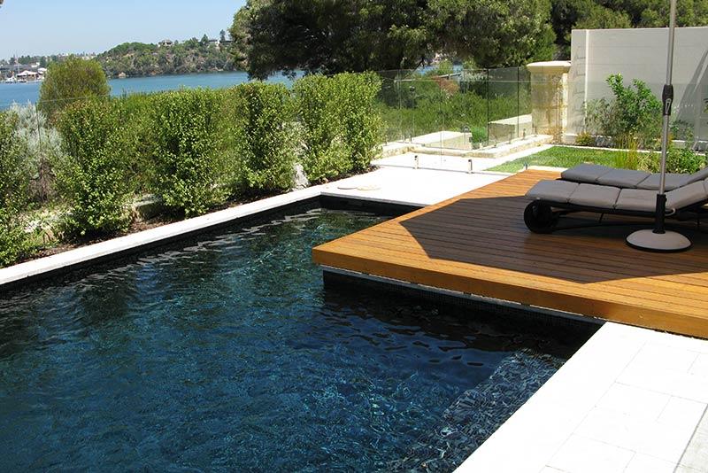 Minim Cove Concrete Geometric Pool Fully Tiled with Sun Deck