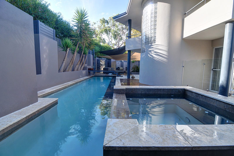Applecross Concrete Lap Pool with Spillover Spa