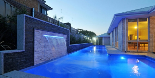Melville Concrete Lap Pool with Waterblade Water Feature