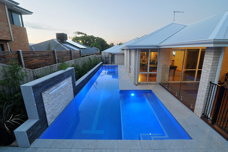 Melville Concrete Lap Pool with Lap Tile and Swim Out