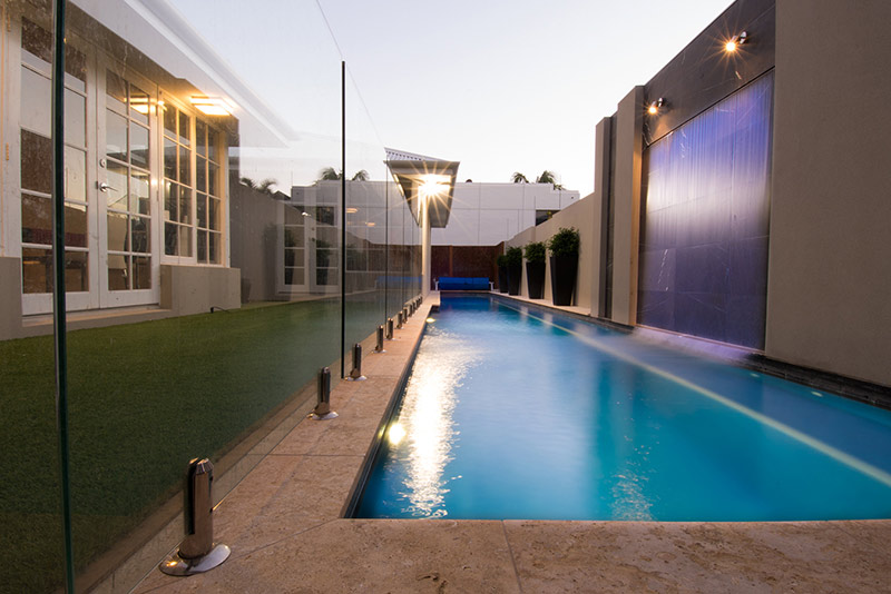 Applecross Concrete Lap Pool with Water Blade Feature