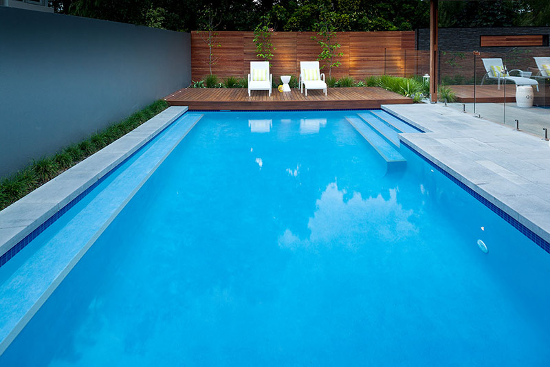 Nedlands Concrete Geometric Pool - Quartz Finish Benching