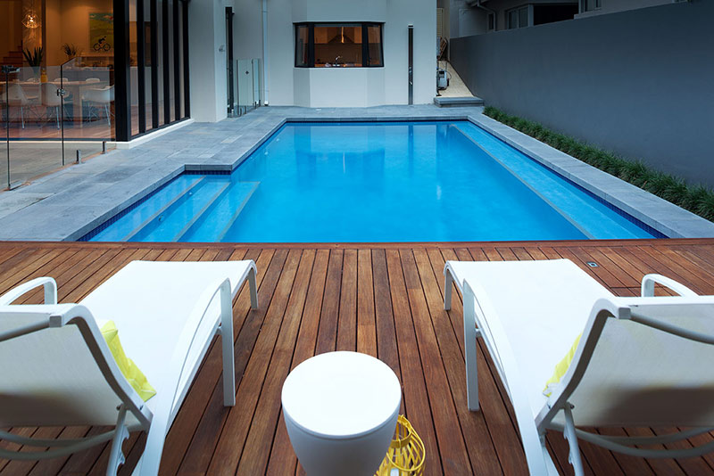 Nedlands Concrete Geometric Pool - Benching and Sun Deck