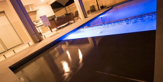 Swanbourne Concrete Geometric Pool with tiled Baja Shelf and Wader