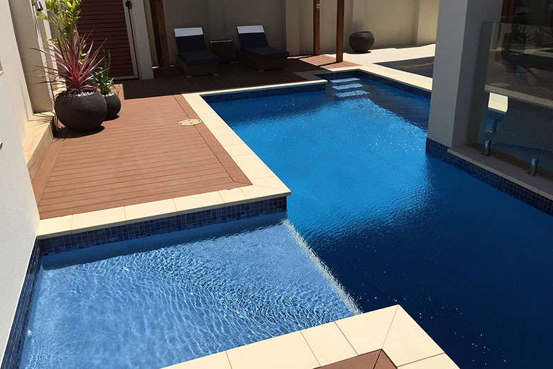 Coogee Concrete Lap Pool with Wading Shelf and Water Feature