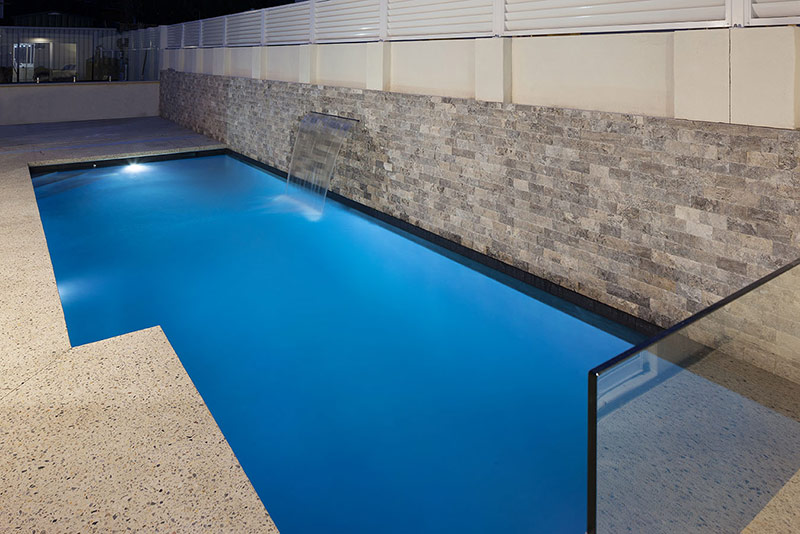 Claremont Concrete Geometric Pool - Water Feature Wall with Cladding