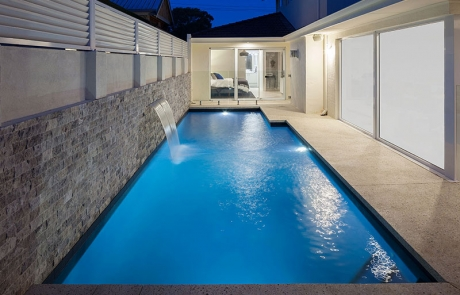 Claremont Concrete Geometric Pool with Waterblade