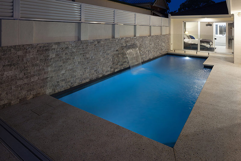 Claremont Concrete Geometric Pool with Poured Aggregate