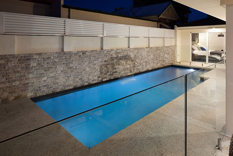 Claremont Concrete Geometric Pool with Cladded Feature Wall