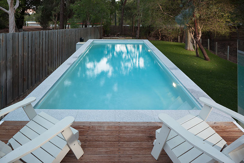 Darlington Concrete Geometric Pool with Platform Sun Deck