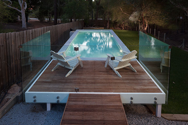 Darlington Concrete Geometric Pool - Decked Boardwalk with Platform