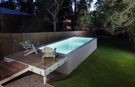 Darlington Concrete Geometric Pool - Above Ground with Platform