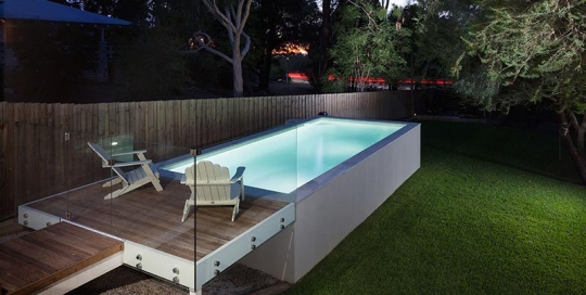 Darlington Concrete Geometric Pool - Above Ground with Platform