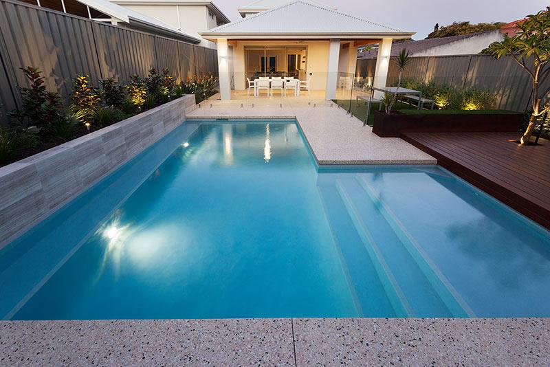 Wembley Downs Concrete Geometric Pool - Poured Aggregate