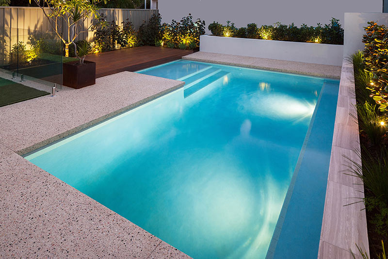 Wembley Downs Concrete Geometric Pool - Benching and Planters