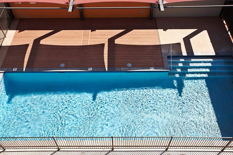 Baynton Apartments Concrete Geometric Pool Birdseye View