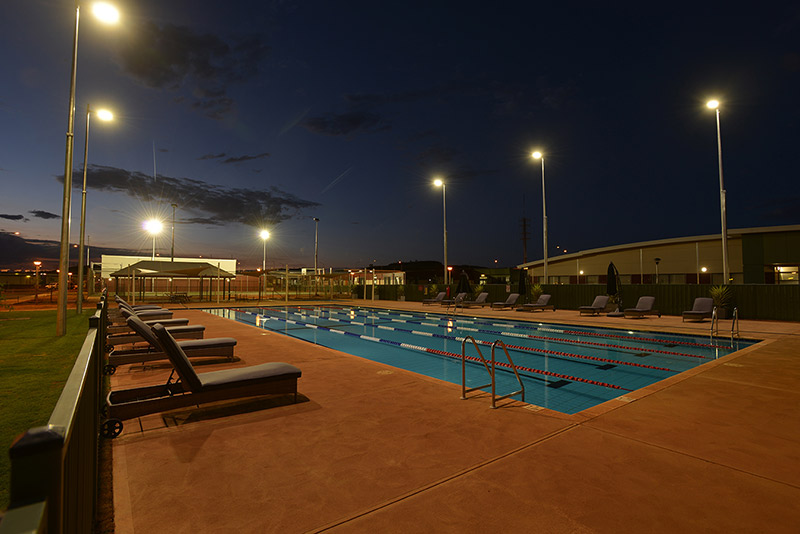 Roy Hill Concrete Lap Pool - Night