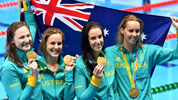 olympic swimming - womens relay team