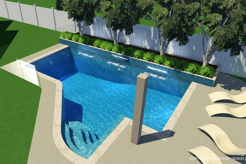 double view geometric with freeform entry pool design doubleview - Free Form Swimming Pool Designs