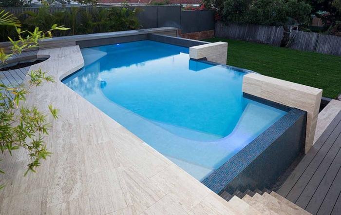 infinity edge freeform pool city beach